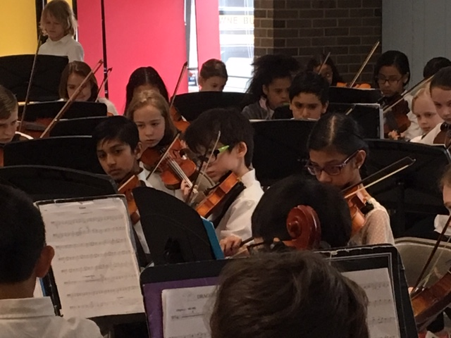Students playing in the orchestra.