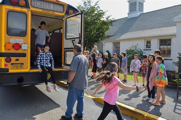 Bedford bus safety drill