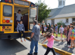 Bedford students practice bus safety