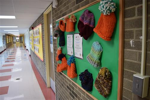 sample hats in the halls of WPES