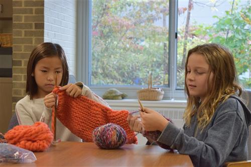 WPES Knitting for Friends club in action